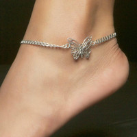 Butterfly Anklet, Sterling Silver Beveled Curb with Lobster Clasp -- Size: 10in x 4.2mm