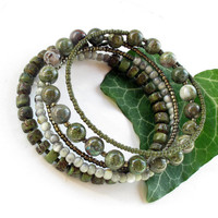 Beaded bracelet stack - 5 olive green stacking bangles - wrap around bracelet coil