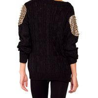 Spiked Leopard Shoulder Patch Heavy Knit Sweater - 2020AVE