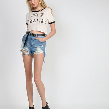 Mermaid Cropped Tee - Off White