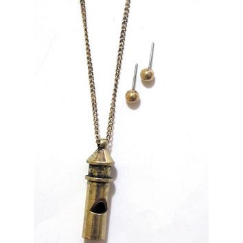 Antique Whistle Pendant Necklace with Matching Earrings