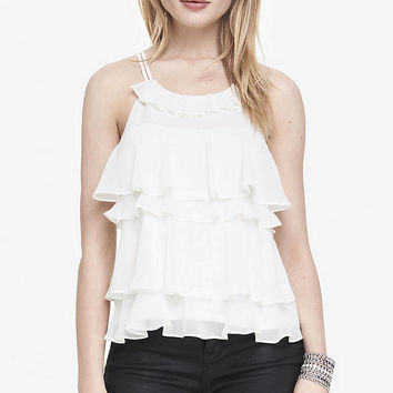 RUFFLE FRONT HALTER TANK from EXPRESS