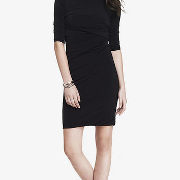 SIDE RUCHED 3/4 SLEEVE DRESS from EXPRESS