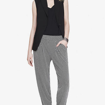MINI WINDOWPANE PLEATED SOFT PANT from EXPRESS