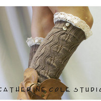 Lace  leg warmers TAN  cluny lace 2 tortoise buttons womens leaf knit pattern  great with all boots by Catherine Cole Studio