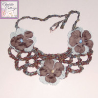 Necklace - Bohemian - Bib - Crocheted Brown Blue Beaded with flowers