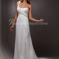 Beautiful A-line One Shoulder Floor Length Chiffon Beach Wedding Dress-$336.97-ReliableTrustStore.com
