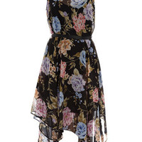 Black floral asymmetric dress - Party Dresses  - Dresses  - Dorothy Perkins