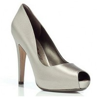 Salvatore Ferragamo Silver Satin Peep Toe Platform Pumps