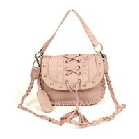 Korean Fashion Weaved Handle Tassle Cross Body Messenger Bag Women Handbag S504