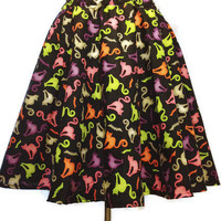 Halloween Skirt Cat Skirt Womens Costume Full Circle Black Light Neon Skirt