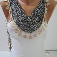 Leopard Cotton Shawl/Scarf- with lace edge