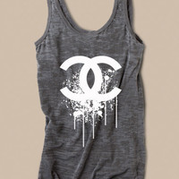 Chanel Splatter Logo Womens Tank in Burnout Gray Size  Medium