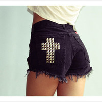 vintage Wrangler studded cross black denim shorts renewal reconstructed distressed