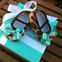 Tiffany & Co. Inspired Giraffe Infant Crib Shoes With Swarovski Crystals