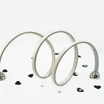 White Triple Wrap Leather Bracelet, White eco-friendly Premium Leather, Silver Plated easy on magnet closure, Gift for Her with Gift Box