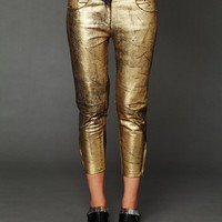 Free People Fear and Loathing Gold Leather Pants