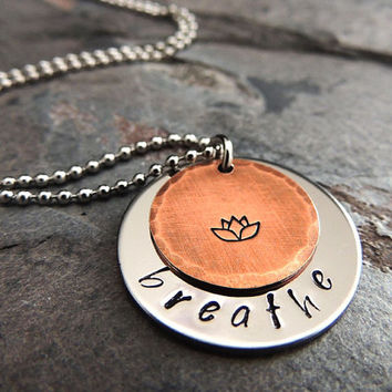 Breathe Yoga Necklace, Lotus Flower, Silver Stainless Steel Copper Pendant, Hand Stamped, Long Boho Necklace
