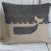 Whale Hand Printed Charcoal Hessian Cushion 14&quot; x 16&quot;