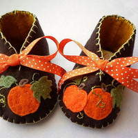 Autumn Harvest baby girl booties with by FiestaKidsBoutique