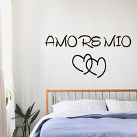 Family Wall Decals Love Quote Amore Mio Hearts Valentine's Day Gifts Vinyl Decal Sticker Bedroom Interior Design Art Mural Decor KG587