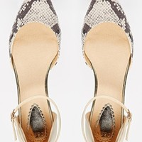 Oasis Two Part Snake Effect Ankle Strap Flat Shoes
