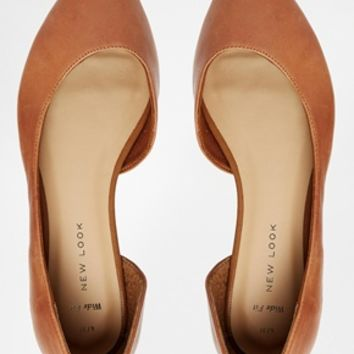 New Look Wide Fit Jamil Cut Out Flat Ballerina Shoes