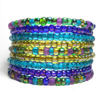Peacock Purple and Blue Beaded Wrap Bracelet Memory Wire Bracelet