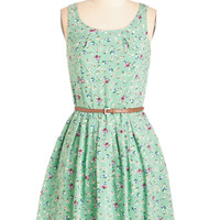 ModCloth Mid-length Sleeveless A-line Posy Does It Dress
