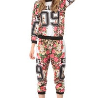 Dreamer Floral Print Quilted Jogger Pants