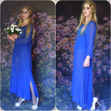 Vintage sheer Indian maxi dress / diaphanous cobalt blue gauze sheath tunic gown in kurta style / appliqués beads and embroidered flowers