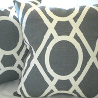 Set of Charcoal grey pillow covers, Grey and light creme 18 x 18