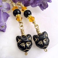 Black Cat Earrings, Orange Crystals, Black Obsidian, Halloween Dangles