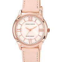 Anne Klein Watch, Women's Light Pink Genuine Lamb Leather Strap 36mm AK-1010RGLP - All Watches - Jewelry & Watches - Macy's