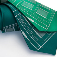 Circuit board green silk necktie. &quot;Microchip.&quot; Silver screenprint. Choose kelly or teal green tie.