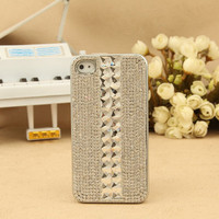 FREE SHIPPING Apple iPhone 4S 4G Artificial Swarovski Rhinestone Bling Crystals Back Silver Stylish New Pattern Back Case for Girls