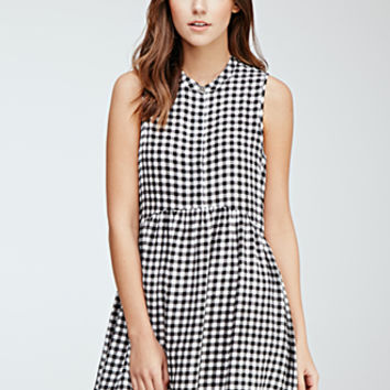Shirred Gingham Button-Front Dress