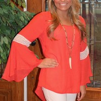 Bangles Boutique — CORAL BELL SLEEVE TOP WITH LACE ACCENT AT SLEEVE