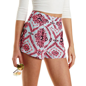 Tile Print High-Waisted Shorts by Charlotte Russe - Blue Combo