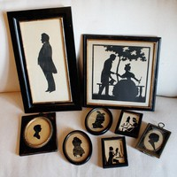 Incredible Collection of Antique Framed Silhouettes