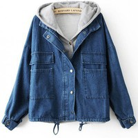Hooded Dark blue long sleeve casual short denim jacket   style zz10090201 in