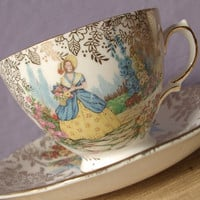 vintage English tea cup and saucer set, Colclough bone china, victorian woman, southern belle, flower garden, crinoline dress