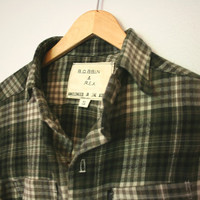 Handmade Men's Elbow Patch Button-Up Shirt in Olive Green Flannel SMALL