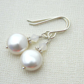 Wedding Earrings Swarovski Pearls, Crystal, Sterling Silver, Bridal, White, Beige, Ivory, Classic Jewelry, Jewelry Earrings. Drop Earrings