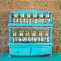 Upcycled Painted Light Blue Spice Rack Retro Rooster Wood Wooden Wall Hanging Glass 12 Apothecary Jars