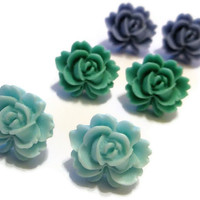 Jewelry Post Earrings set of three green blue aqua jade  rose flower Copper Silver hand made by frutti Tutti Bead candy