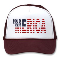 &#x27;MERICA US Flag Trucker Hat (original-blue) from Zazzle.com