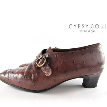 BOTTICELLI monk strap shoes | crocodile embossed shoes | tiger head brass buckle | short heels | 80s brown leather 37.5