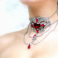 Red Gothic Choker  - Ruby Red Jewels on Silver Choker - Victorian Gothic Jewelry