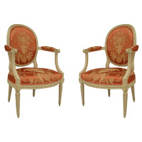 Fine Pair of French Louis XVI Armchairs by Ponce Gerard